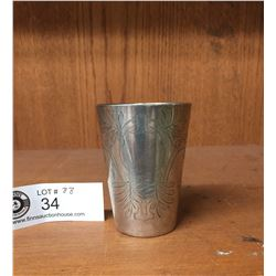 Vintage 1904 Engraved Commemorative Cup Marked 800 Silver 2 w x 3 H