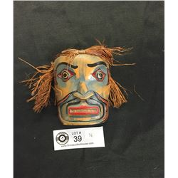 "BC Native Carved Mask With Hair. Signed in a Green Stickman on Back. 4""H x 3""w"