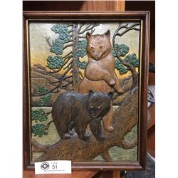 Nicely Done Wooden Artwork. 2 Bears in Forrest.