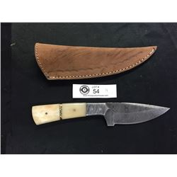 Nicely Made Damascus Knife with Leather Sheath. Mother of Pearl Handle?