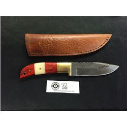 Nicely Made Damascus Knife with Leather Sheath. Nice 2 Tone Handle