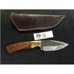 Very Nicely Made Damascus Knife with Leather Sheath. Solid Wood Handle