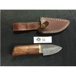 Nicely Made Damascus Knife with Leather Sheath.Shorter Blade Wooden Handle