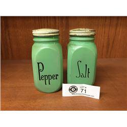 Vintage Jadite Green Glass Salt & Pepper Shakers