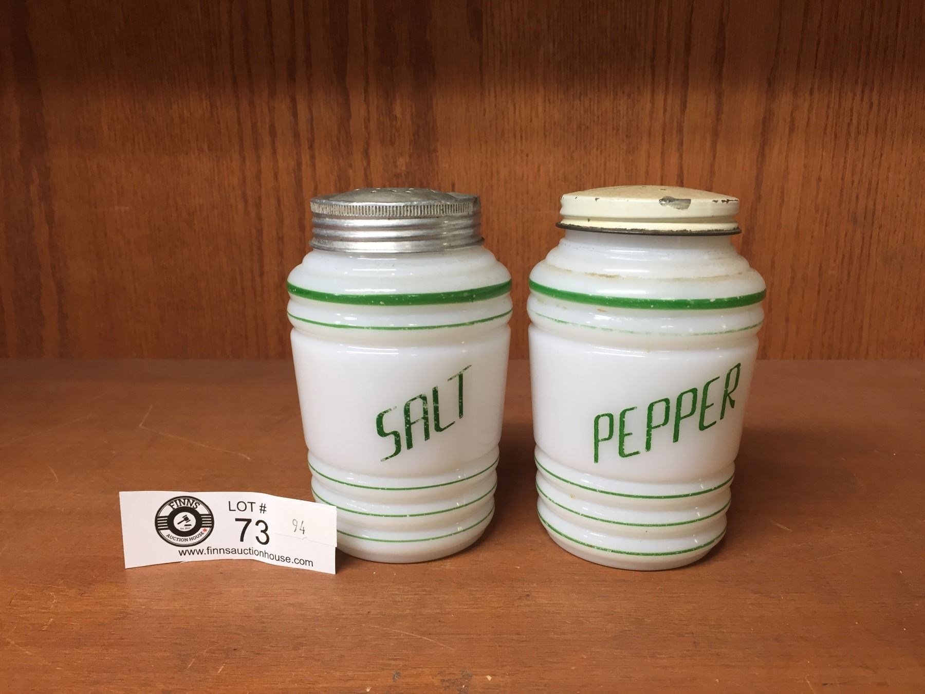 Vintage Milk Glass Salt Pepper Shakers With Green Stripes And Writing