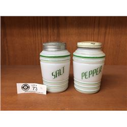 Vintage Milk Glass Salt & Pepper Shakers With Green Stripes and Writing