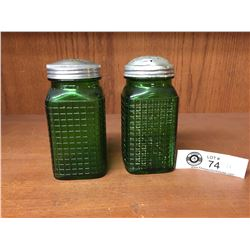 Vintage Pair of Salt & Pepper Hossier Shakers Emerald Green Depression Glass
