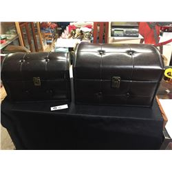 """2 Decorative Small Padded Trunks 14"""" x 10"""" x9.5"""" and 11"""" x 7""""x 8..5"""""""