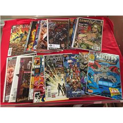 Lot of 30 #1 Issue Comics Some in Bags on White Boards