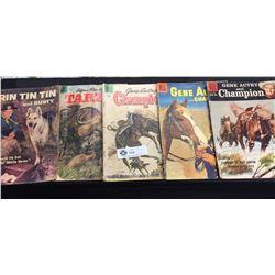 5 Vintage Dell Magazines 1950's. Gene Autry,Rin Tin Tin etc.