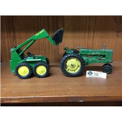2 Vintage John Deere One a Bobcat and The Other Tractor made by ERTL