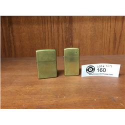 2 Vintage Solid Brass Zippo Lighters in Good Working Condition.