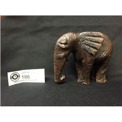 "Nicely Carved Wood African Elephant. 4"" Tall"