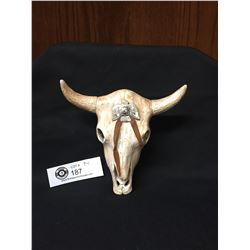 Native American Navajo Pottery Steer/Cow Skull with Silver Eagle On The Front