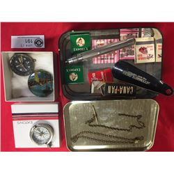 Vintage Tin and Eaton's Box Full of Treasures! Compass, Woodwards Shoe Horn, Pocket Watch Chain,etc