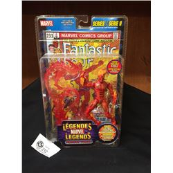 Marvel Legends. Human Torch with Fantastic 4 Comic Book. Series II (2) Factory Sealed