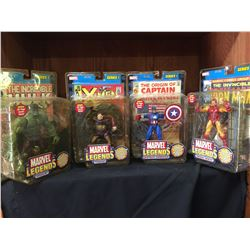 Lot of 4 Marvel Legends Series 1  With Comics and Factory Sealed. Captain America, Hulk,Iron Man,Toa