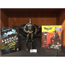 "Batman Lot. Large Batman Figure ( No Package) 14""H x 17""w, Batman Colouring and Activity Book, and B"