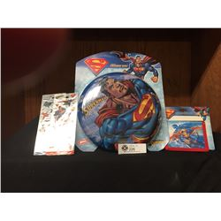 Nice Superman Lot. New In Package, Superman Frisbee, Bifold Wallet, Plus 2 Sheets of Stickers