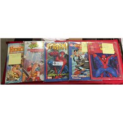 Lot of 5 Comic Book Colouring Books. Spiderman, DC Comics Superheros, Turtles, Hercules. Only a few