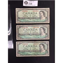 3 1954 Bank Of Canada $1 Notes