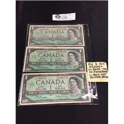 3 Centennial of Canadian Confederation $1 Bank Notes  With Serial Numbers Stamped on Backsm and 1 on