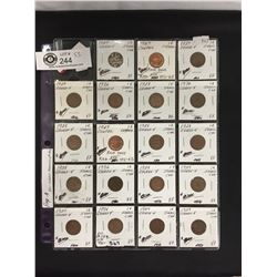 19 Canadian 1 Cent Coins in a holder 1927-1967