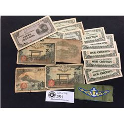 Lot of WWII Japanese Currency Plus a Military Patch