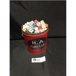 Vintage 3 Lbs H.A. Pure Lard Tin Full of Old Dice and Marbles