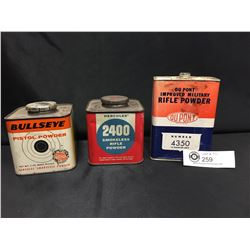 3 Vintage Empty Gun Powder Tins. Dupont, Bullseye and Hercules