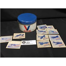 Vintage 1 lb Valvoline Grease Tin and Some WWII Daily Mail Tobacco Cards