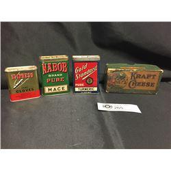 Vintage Kraft Cheese Cardboard Box + 3 Vintage Spice Tins. Empress Pure Cloves, Gold Standard Tumeri