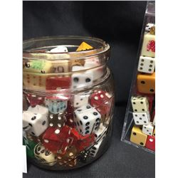 3 Containers of Old Dice and Marbles