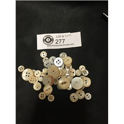Approximately 50 Antique Real Mother of Pearl Buttons
