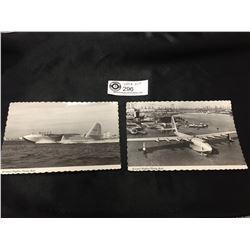 """2 Howard Hughes Vintage """" Flying Boat"""" Postcards"""