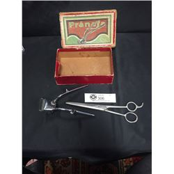 Vintage Pranafa Clippers Clippers in Original Box and Vintage Haircutting Scissors