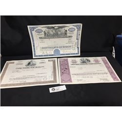 3 Vintage Stock Certificate