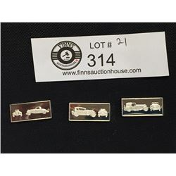 3 Franklin Mint  Classic Car Miniature Sterling Silver Bars 1932 Chrysler, 1928 Cunningham, 1930 Ast