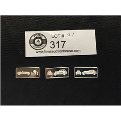 3 Franklin Mint  Classic Car Miniature Sterling Silver Bars 1927 Delage, 1931 Peerless, 1926 Rolls R