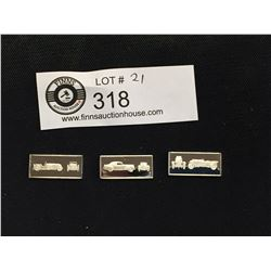 3 Franklin Mint  Classic Car Miniature Sterling Silver Bars 1931 INVICTA, 1941 Lincoln Continental,1