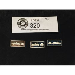 3 Franklin Mint  Classic Car Miniature Sterling Silver Bars 1927 LaSalle, 1938 BMW, 1931 Du Pont