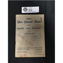 "Vintage 1937 "" What you Should Know about Syphilis and Gonorrhea"" Booklet"
