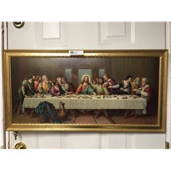 "The Last Supper Picture with a Nice Gold Frame. 33"" x 17"""