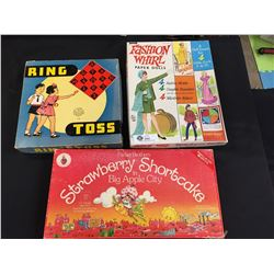 Lot of 3 Vintage Board Games. Ring Toss, Fashion Whirl, Stawberry Shortcake