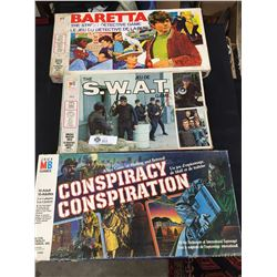 Lot of 3 Vintage Stratagy Games. Baretta, The S.W.A.T. Conspiracy