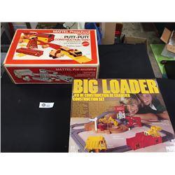 Children's Vintage Construction Toys in Box. Mattel Putt Putt Construction Yard + Big Loader Constru