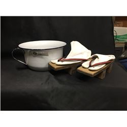 Vintage Porcelain Pot and A Pair of Wooden Japanese Shoes