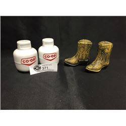 Two Sets of Salt and Pepper Shakers Co-Op and Cowboy Boots
