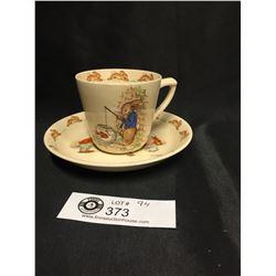 Vintage Early Royal Doulton Bunnykins Tea Cup and Saucer. Barbara Vernon Artist. In Very Nice Shape
