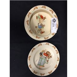 Vintage Royal Doulton Bunnykins Child's Bowl and Plate. Barbara Vernon Artist. In Very Nice Shape